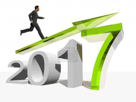businessman standing over an green 2017 year symbol