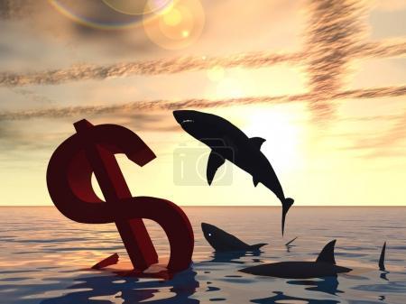 Photo pour Symbole sanglant conceptuel haute résolution ou signe naufrage dans l'eau ou la mer, avec les requins noirs manger fond - image libre de droit