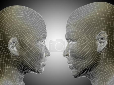 male and female head
