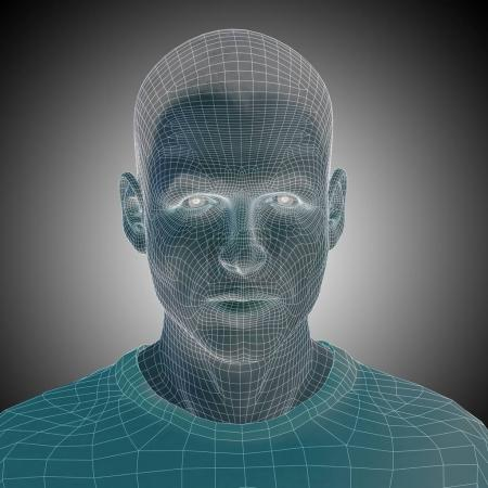 wireframe young human face