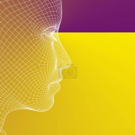 Photo pour Concept ou illustration 3D conceptuelle filaire jeune homme femelle ou femme visage ou tête sur fond gris - image libre de droit