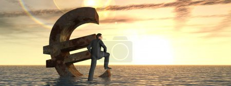 3D illustration currency euro symbol sinking in sea