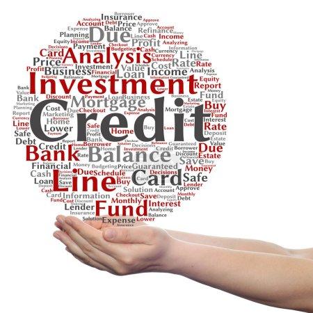 credit word cloud in hands