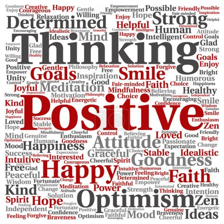 Photo for Positive thinking abstract word cloud isolated background - Royalty Free Image