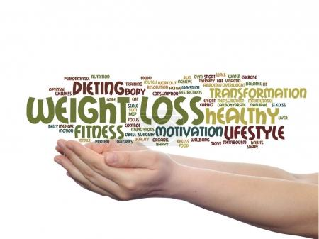 weight loss word cloud in hands