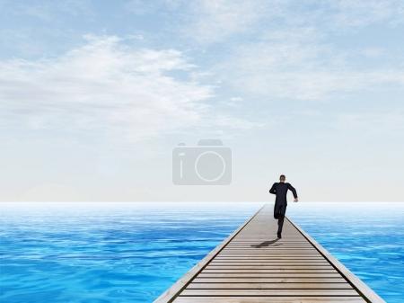 businessman running on old wood deck