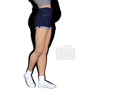 obese female vs slim fit healthy body
