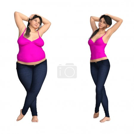 obese female vs slim fit healthy diet