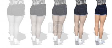 obese female vs slim fit healthy body