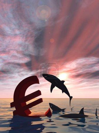 bloody euro symbol sinking in water
