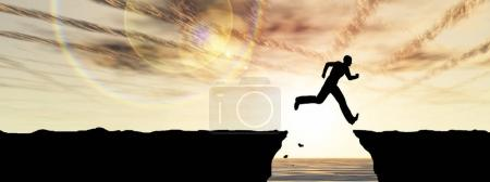 3D illustration young man or businessman silhouette jump