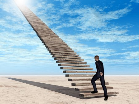 businessman walking on stairs