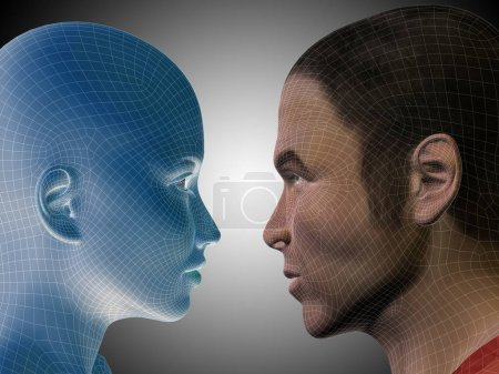 Conceptual male and female heads