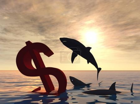 dollar symbol in the sea with sharks