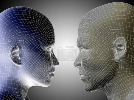 mesh human male and female head