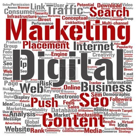 Photo pour Concept ou conceptuel seo marketing digital ou nuage de mot carré de trafic isolé sur fond - image libre de droit