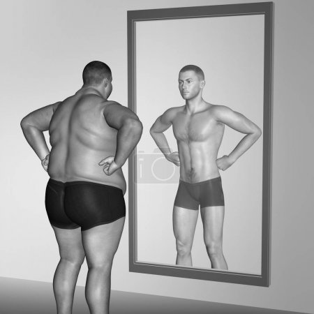 3D illustration fat overweight vs slim