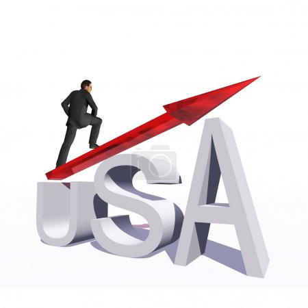 businessman standing over an USA symbol