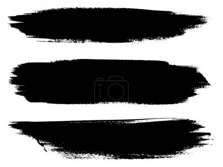 artistic grungy black paint hand made creative brush stroke set isolated on white background