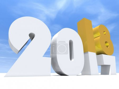 2018 white and yellow symbol of happy new year eve on white snow and sky background