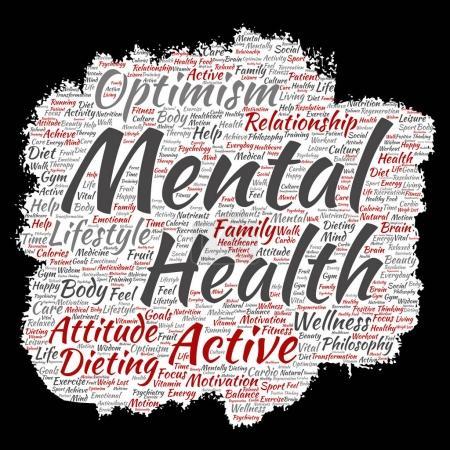 Conceptual mental health paint brush word cloud