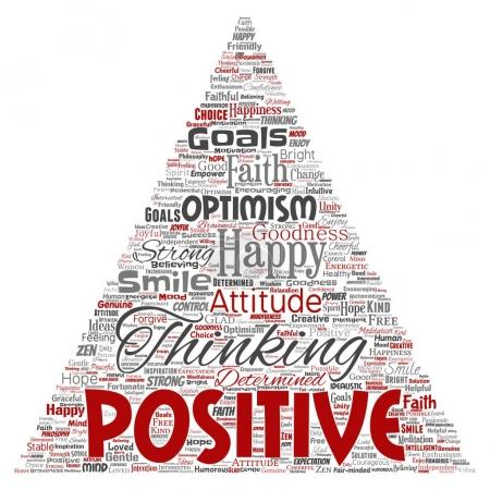 Foto de Conceptual pensamiento positivo, feliz fuerte actitud triángulo flecha palabra nube aislada en el fondo. Collage de optimismo sonrisa, fe, metas valientes, bondad o inspiración de felicidad - Imagen libre de derechos