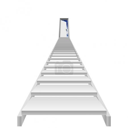 High resolution concept or conceptual 3D white concrete stair isolated on white background, for business,progress,achievement,growth,career,success,development,faith,religion or vision designs