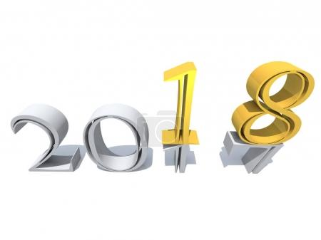 2018 white and yellow gold abstract happy new year eve, holiday symbol or number on 2017 text, white snow isolated background. Time celebration season change or future metaphor to hope 3d illustration