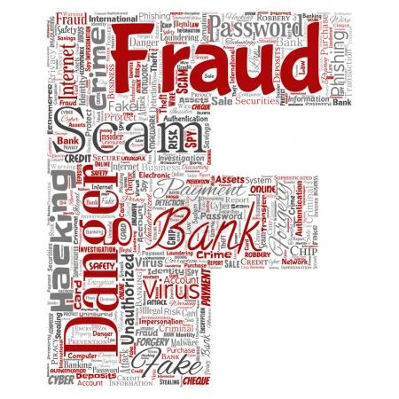 Conceptual bank fraud payment scam danger letter font F word cloud isolated background. Collage of password hacking, virus fake authentication, illegal transaction or identity theft concept