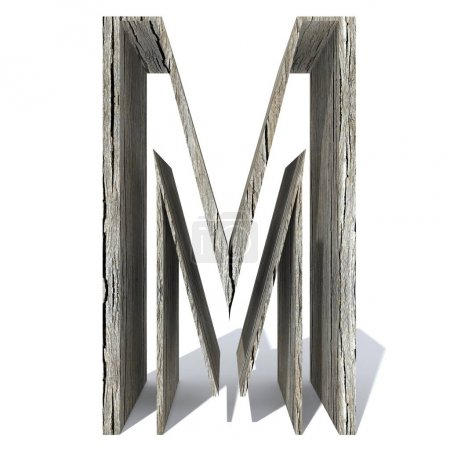 Conceptual wood or wooden  font or type, timber or lumber industry piece isolated on white background.  vintage old handmade letter  m as 3D illustration
