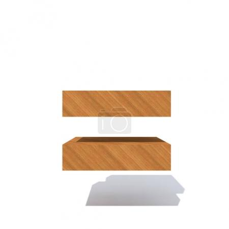 Conceptual  wooden brown font, timber piece isolated on white background. Educative  material, smooth surface pine equals sign as 3D illustration