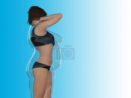 Conceptual fat overweight female with slim fit healthy body after weight loss, 3D illustration