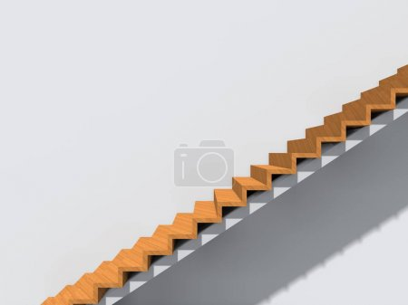 Conceptual stairs on wall background building or architecture as metaphor to business success, growth, progress or achievement. 3D illustration of creative steps rising up to the top as vision design
