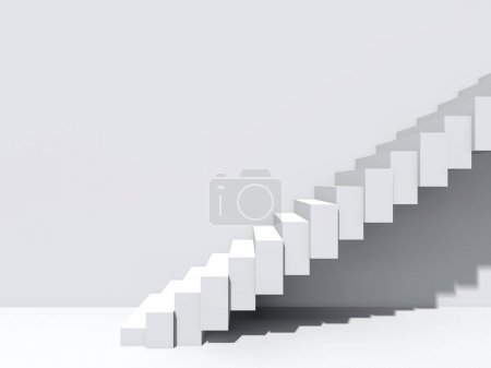 Photo for Conceptual stairs on wall background building or architecture as metaphor to business success, growth, progress or achievement. 3D illustration of creative steps rising up to the top as vision design - Royalty Free Image