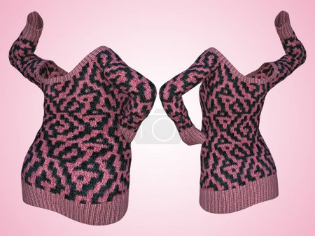 Conceptual fat overweight obese female sweater dress vs slim fit healthy body after weight loss or diet thin young woman on pink.