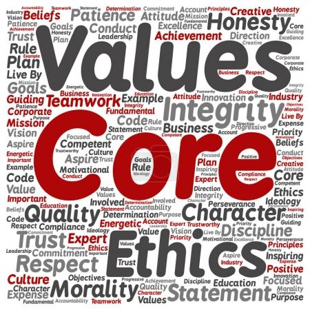 Illustration for Conceptual core values integrity ethics concept word cloud isolated on background - Royalty Free Image