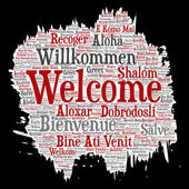 Vector conceptual abstract welcome or greeting international brush or paper word cloud in different languages or multilingual. Collage of world, foreign, worldwide travel, translate, vacation tourism