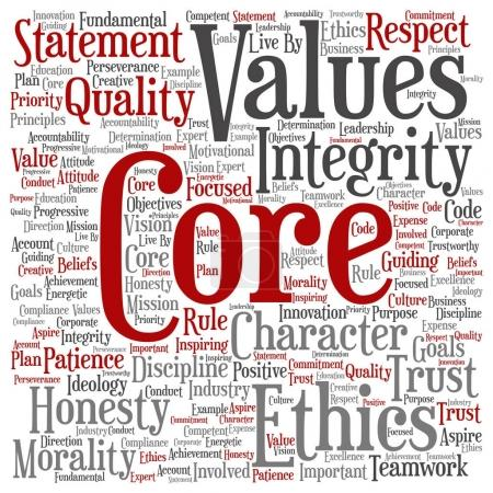 Illustration for Conceptual core values integrity ethics concept word cloud - Royalty Free Image