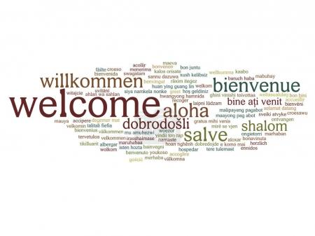 Welcome international abstract word cloud isolated