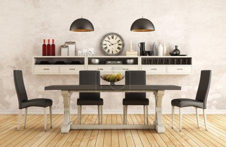 Photo pour Salle à manger rétro noir et blanc avec vieille table et chaises 3d intérieur - image libre de droit