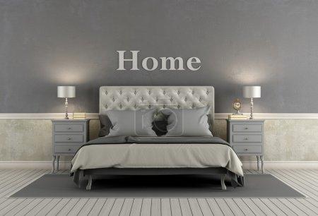 Photo pour Chambre des maîtres dans un style classique avec lit double, table de chevet et murs gris - rendu 3d - image libre de droit