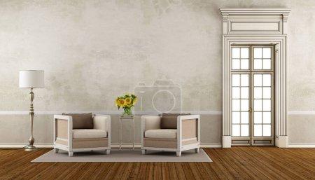 Photo pour Salon rétro avec deux fauteuils et fenêtre haute - rendu 3d - image libre de droit