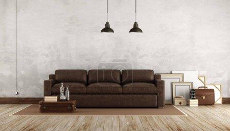 Photo pour Salon rétro avec canapé en cuir - rendu 3d - image libre de droit