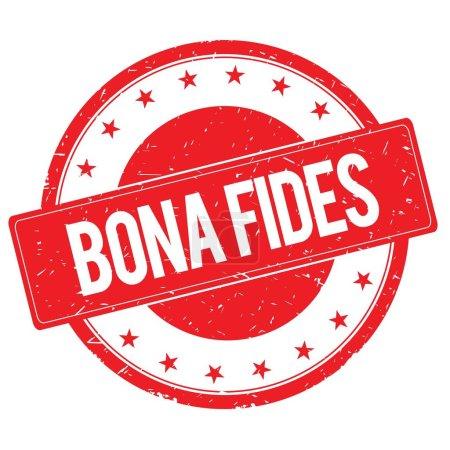 Photo pour BONA FIDES timbre signe texte mot logo rouge . - image libre de droit