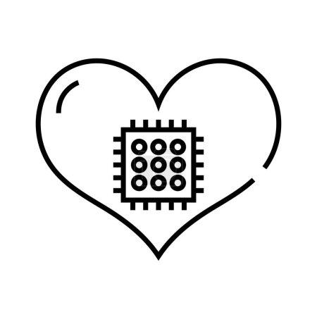 Tech heart line icon, concept sign, outline vector illustration, linear symbol.