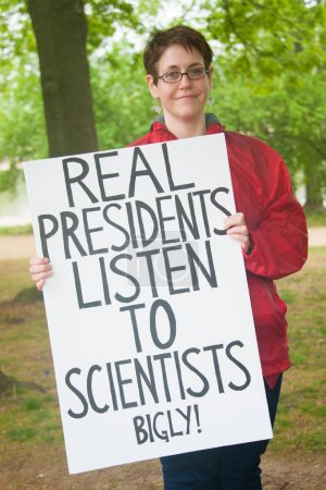 Protester with sign during March for Science