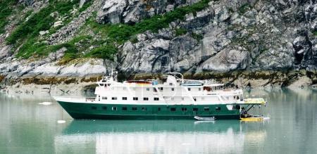 Small cruise ship in glacier bay Alaska