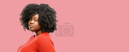 Beautiful african woman confident and happy with a...