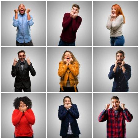 Photo pour Groupe de personnes mixtes, les femmes et les hommes heureux et surpris acclamations exprimant wow geste - image libre de droit