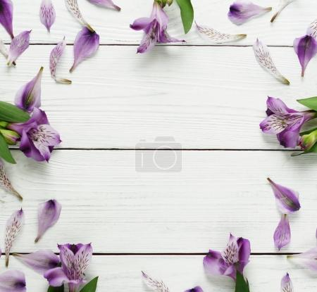 Photo for Floral frame with lilac flowers on white wooden background, top view - Royalty Free Image